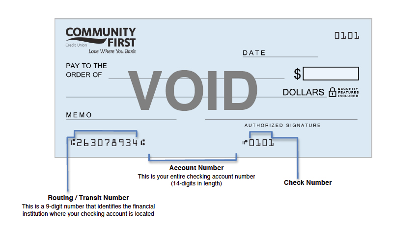 Community First Check with routing, account and check number labeled