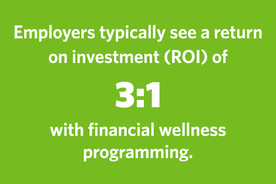 Employers typically see a return on investment (ROI) of 3:1 with Financial Wellness Programming.