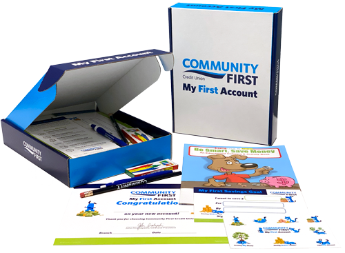 My First Account Kit box with pen, coloring book, certificate and savings goal card